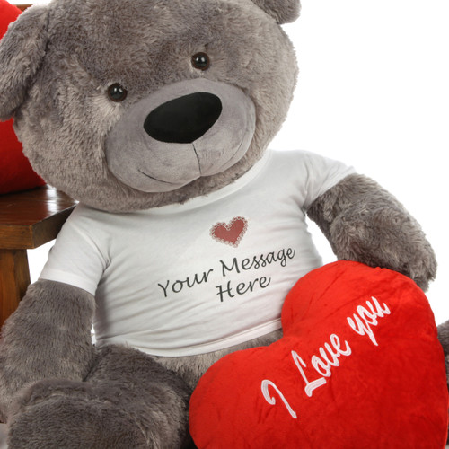 Diamond Shags Personalized Valentine's Day Teddy Bear 45in (Close Up)
