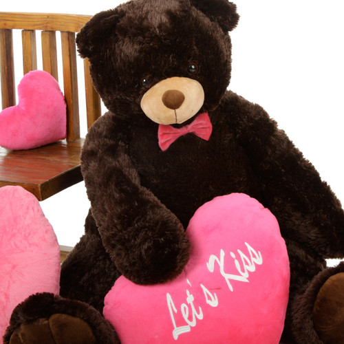 42in Chocolate Baby Tubs Teddy Bear with Hot Pink Let's Kiss Heart