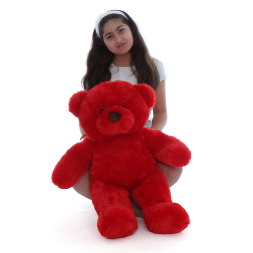 Riley Chubs 30in Extra Plump and softest Bright Red Teddy Bear