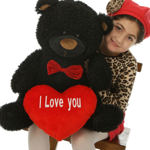 """25in Big Black Teddy Bear Ricardo Fluffy Shags with red """"I Love you"""" heart and red bowtie"""