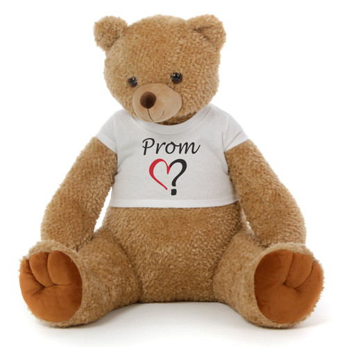 Big 2½ ft Personalized 'Prom?' Teddy Bear Amber Brown Honey Tubs