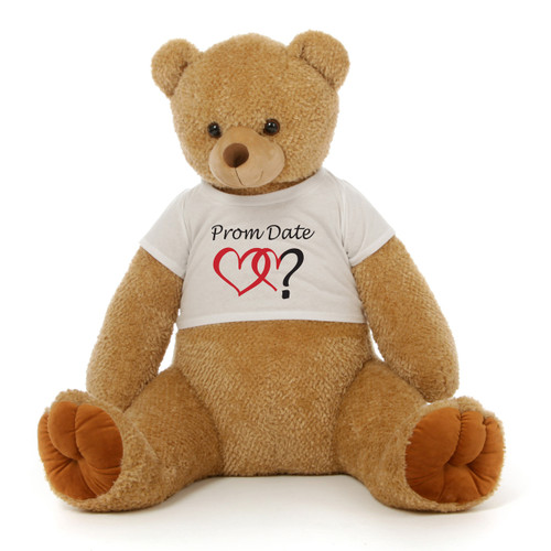 3½ ft Honey Tubs Adorable Amber Brown Prom Teddy Bear (Prom Date? - Double Hearts)