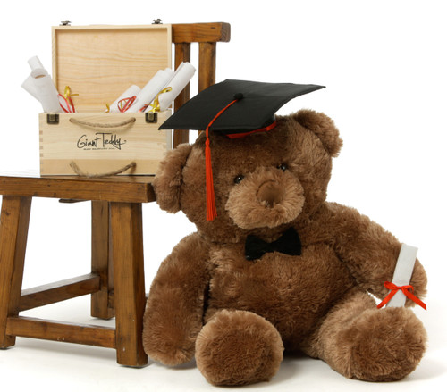 2.5ft Mocha  Big Chubs Teddy Bear with Graduation Cap & Diploma