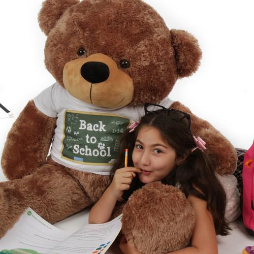 4 ft Mocha Teddy Bear Sunny Cuddles Back to School