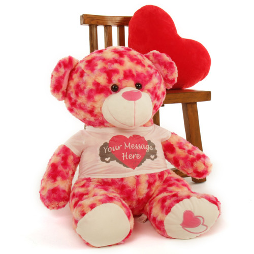 """""""2½ ft Personalized Pink & Cream Valentine's Day Teddy Bear, Sassy Big Love Heart Pillow not included."""""""