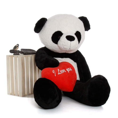 "5ft Valentine Life-Size Panda Bear Precious Xiong wred ""I Love You"" heart"