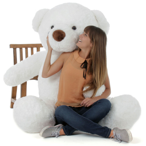 6ft White Giant Teddy White Sprinkle Chubs