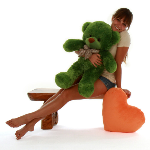Giant Rare Green Teddy Bear Big Oversized 30in size Lucky Cuddles