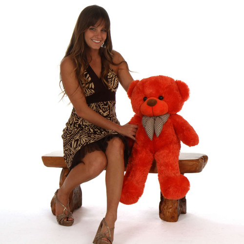 Big Teddy Bear huggable Lovey Cuddles Beautiful Orange Red Fur 30in