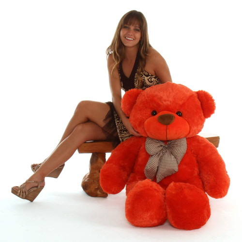 Life Size Orange Teddy Bear Lovey Cuddles 48in