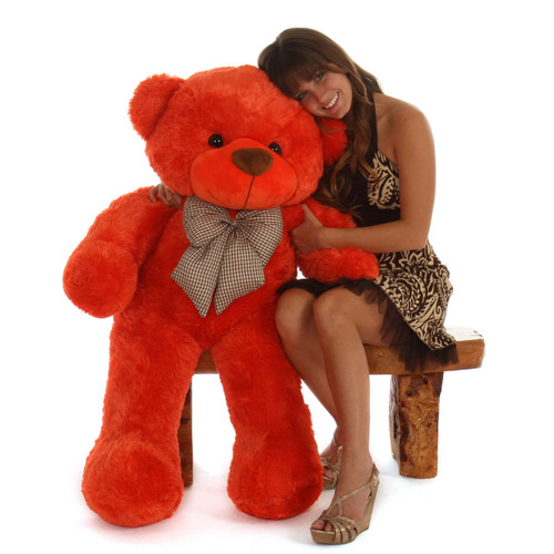 48in Life Size cute Teddy Bear Beautiful Orange Red cuddly soft  Unique Lovey Cuddles