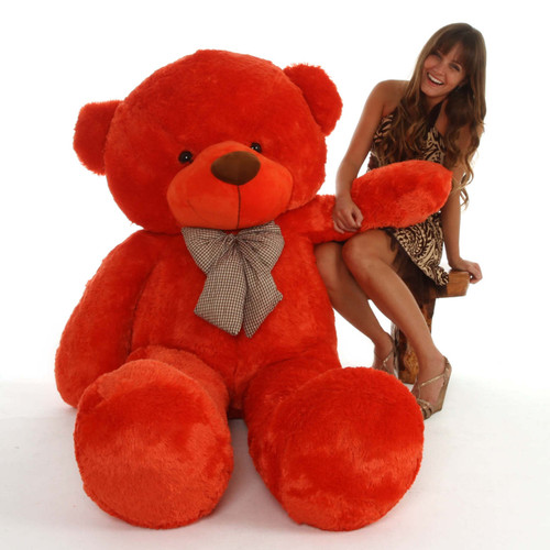 life size teddy bear 72in Lovey Cuddles so soft with cuddly orange red fur