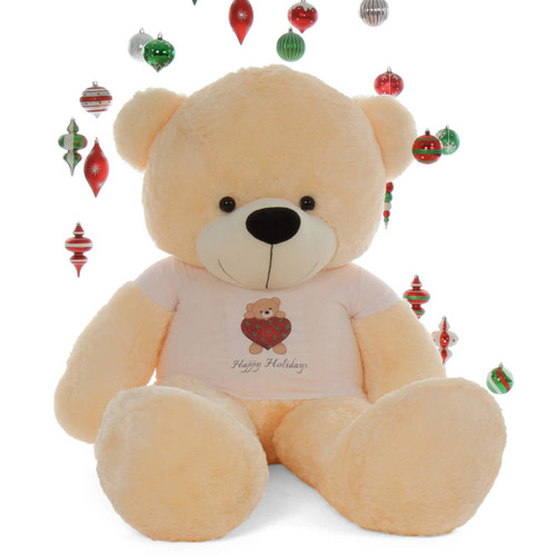 6ft Personalized Happy Holidays  Life Size Vanilla Cream Teddy Bear Cozy Cuddles