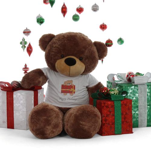 Happy Holidays 5ft Life Size Mocha Brown Teddy Bear Sunny Cuddles