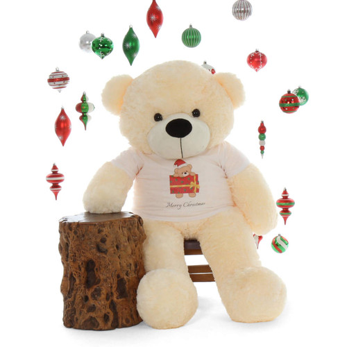 Merry Christmas 4ft Life Size Cream Teddy Bear Cozy Cuddles