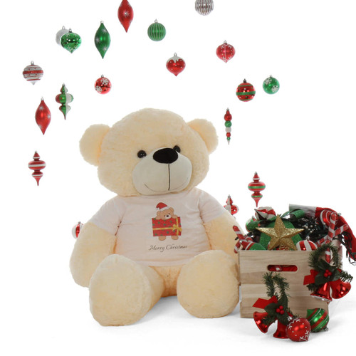 48in perfect gift Merry Christmas personalized Life Size Cream Teddy Bear Cozy Cuddles