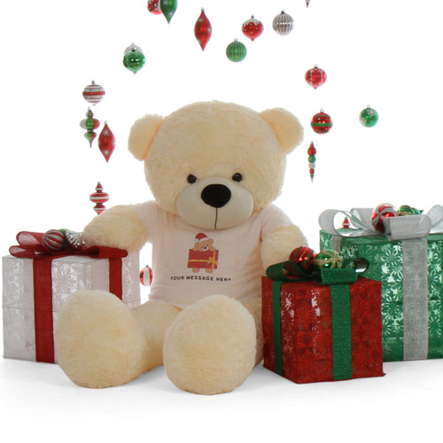Life Size 5ft Personalized Christmas Teddy Bear Cream Cozy Cuddles