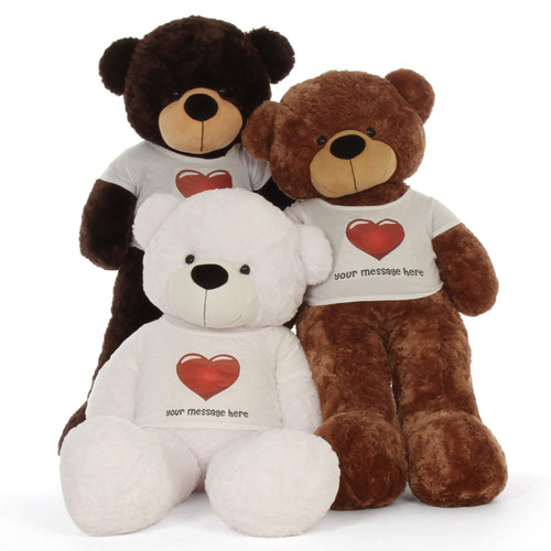 5ft life size family Personalized White Chocolate Mocha Teddy Bear Cuddles in Red Heart Shirt Cutest