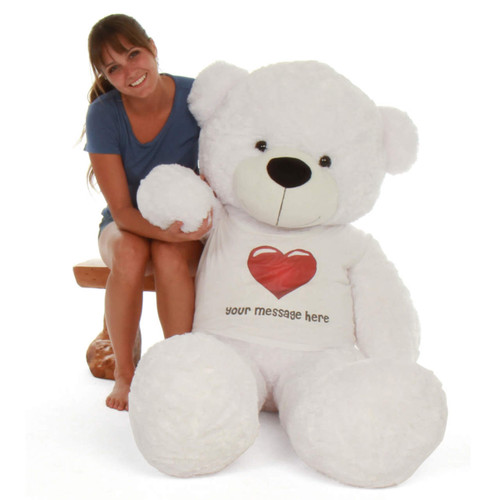 60in Personalized extra fluffy White Teddy Bear Coco Cuddles in Red Heart Shirt gift life size