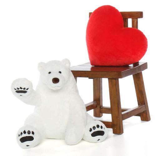 Huge White Polar Bear 24in Snowball Frost