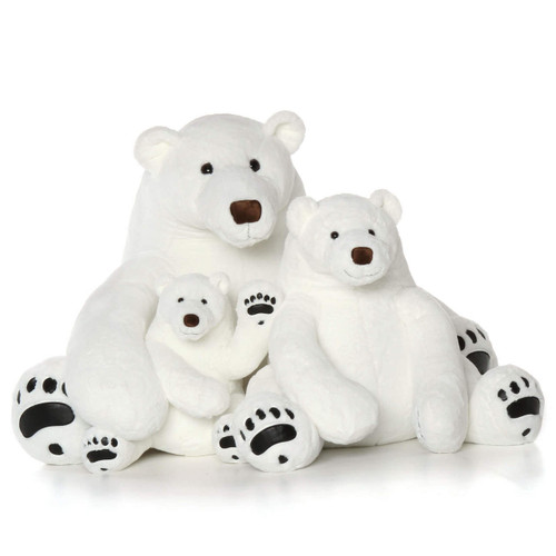 Giant Stuffed Polar Bear Family