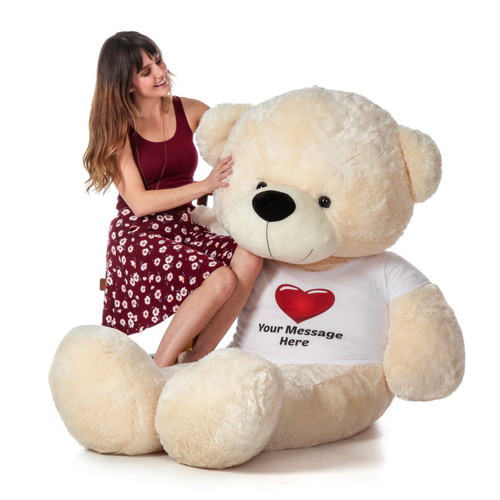 Super Soft Giant Teddy Bear with Personalized T-shirt - Valentine's Day Gift for Girlfriend