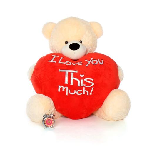 5ft life size huge teddy bear Cozy Cuddles cream fur, holding jumbo red heart pillow