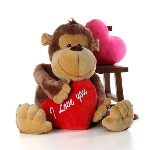58in Stuffed Monkey Valentine's Big Daddy with I love you heart pillow from Giant Teddy brand