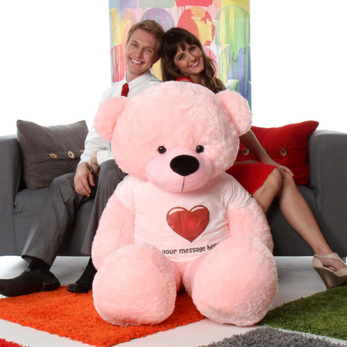 5ft life size huge personalized pink teddy bear famous Lady Cuddles from Giant Teddy brand