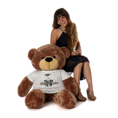 4ft Sunny Cuddles Graduation Teddy Bear Mocha Brown Class of 2019