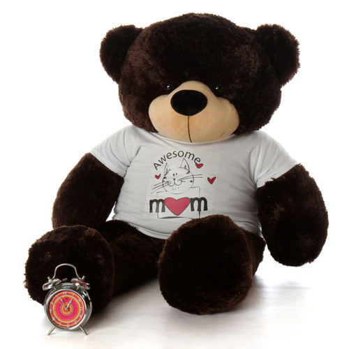 4ft Chocolate Brown Teddy Bear Brownie Cuddles in 'Awesome Mom' shirt