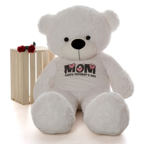 You'll be Mom's favorite with our giant 60in white Happy Mothers Day teddy bear