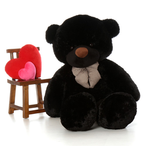 Life size 72in black teddy bear Juju Cuddles is Tall dark and adorable