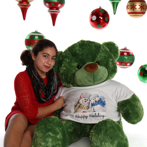 48in Green Teddy Bear Lucky Cuddles Happy Holidays Snowmen