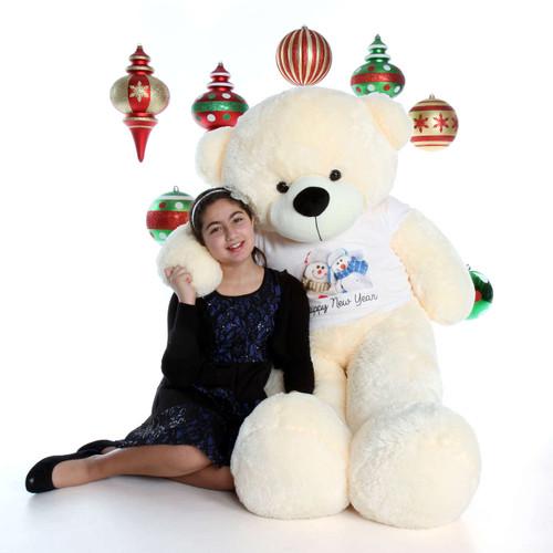 60in Happy New Year Vanilla Bear with Snowmen Shirt Cozy Cuddles Giant Teddy