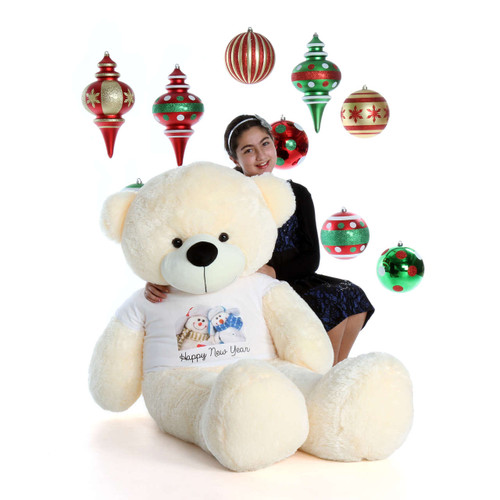 5ft Cozy Cuddles with Snowmen Happy New Year T-Shirt Vanilla Cream Teddy Bear