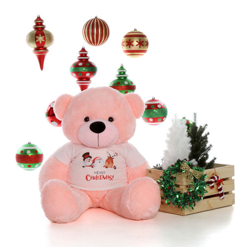 4ft Lady Cuddles Pink Giant Teddy Bear Ready for Christmas with T-Shirt