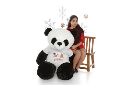 Giant Stuffed Merry Christmas Panda Bear