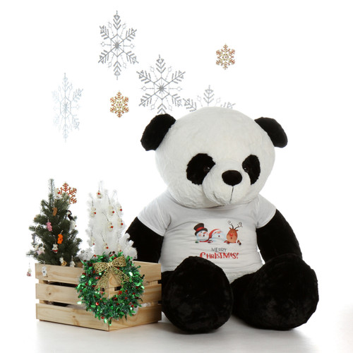 Giant Teddy Brand 5 foot Panda Teddy Bear with Merry Christmas Tshirt
