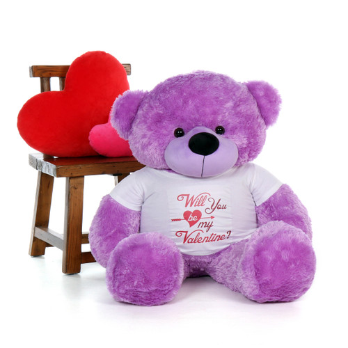 """4ft Life Size Purple Valentine's Day Teddy Bear Dee Dee Cuddles in a """"Will You Be My Valentine?"""" XL Shirt"""