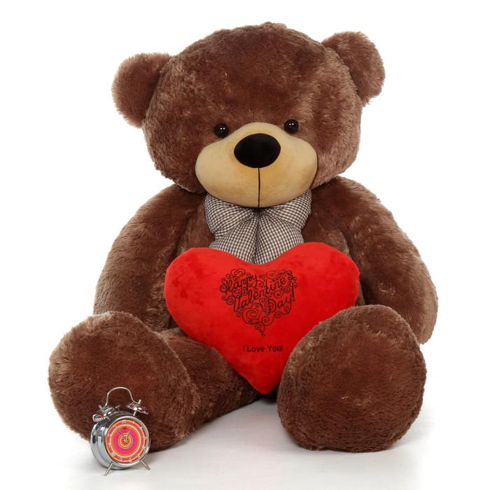 5ft Giant Teddy Bear Mocha Brown Sunny Cuddles w HVD I Love You Heart