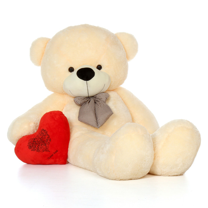 72in Giant Teddy Bear Vanilla Cream Valentine's Day Red Plush Heart