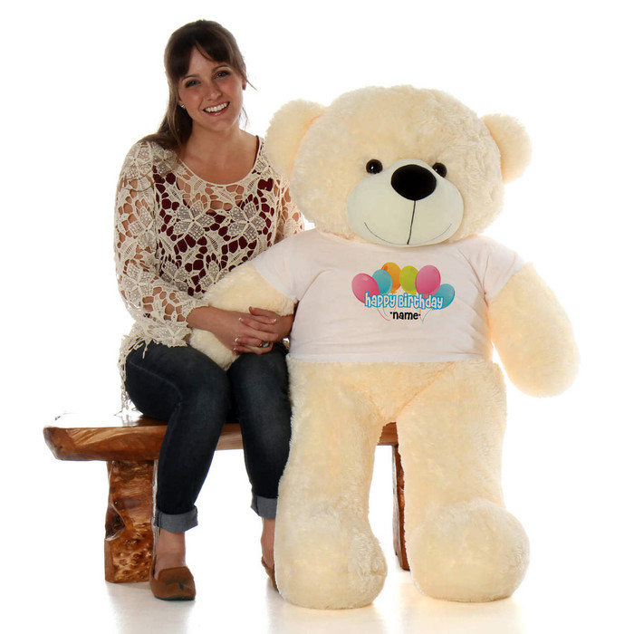 48in Vanilla Cozy Cuddles Happy Birthday Personalized Teddy Bear
