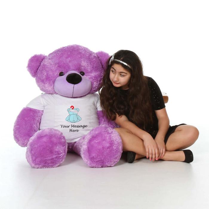 48in Purple Lady Cuddles in personalized blue teddy bear in bandage shirt