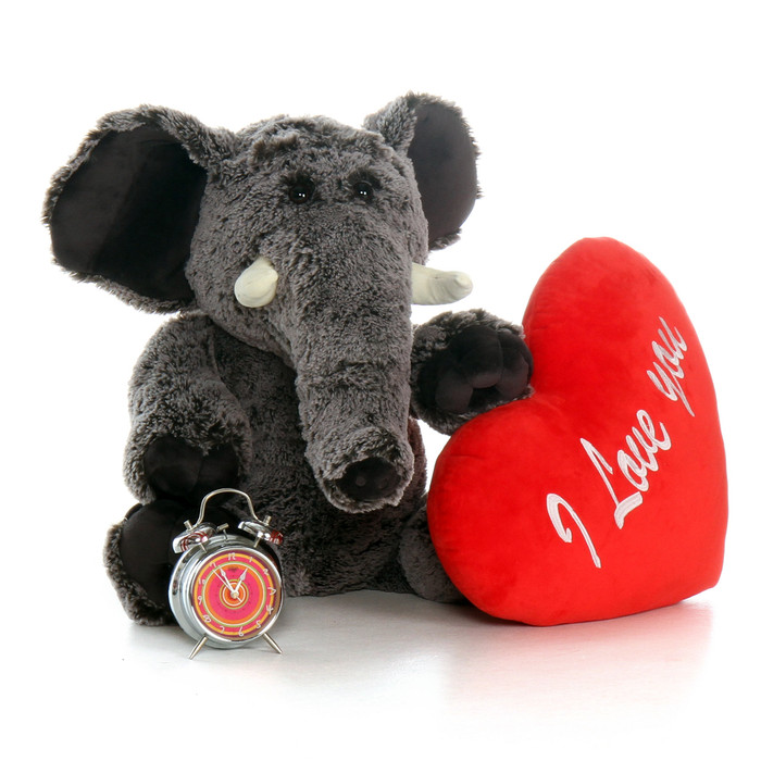 """30in Lucy Elephant with XL Red """"Happy Valentine's Day"""" Heart Pillow"""