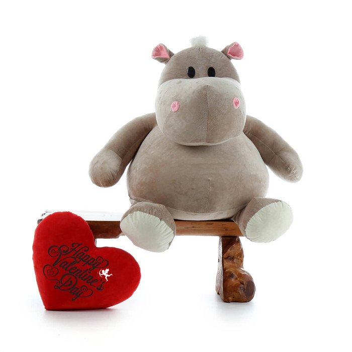 Giant Hippo Stuffed Animal Happy Valentine's Day Gift