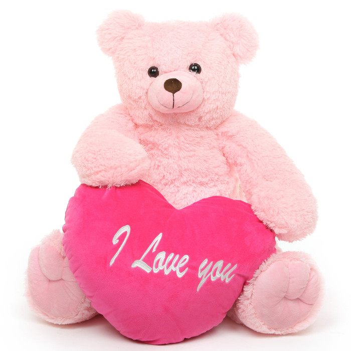 Darling Heart Tubs pink teddy bear with heart 32in