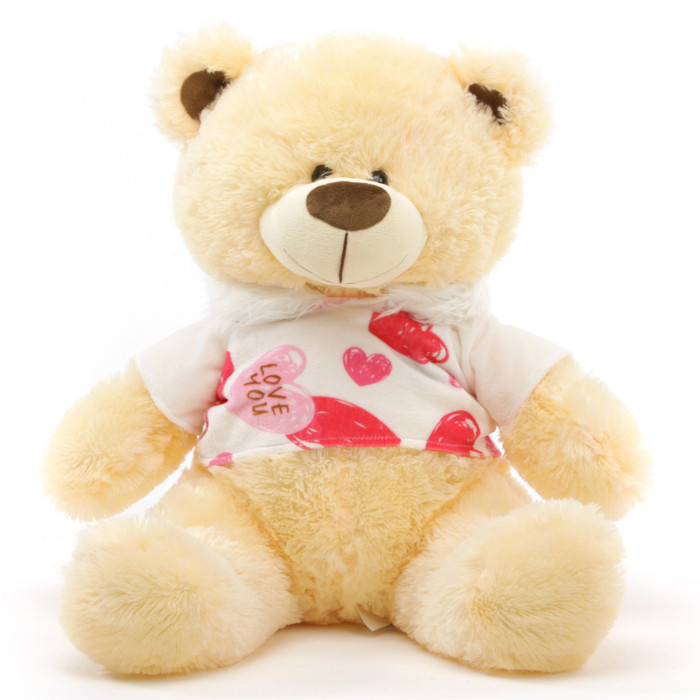 BooBoo Kisses Shags Cute Cream Valentine Bear with Love Hooded Sweater 27in