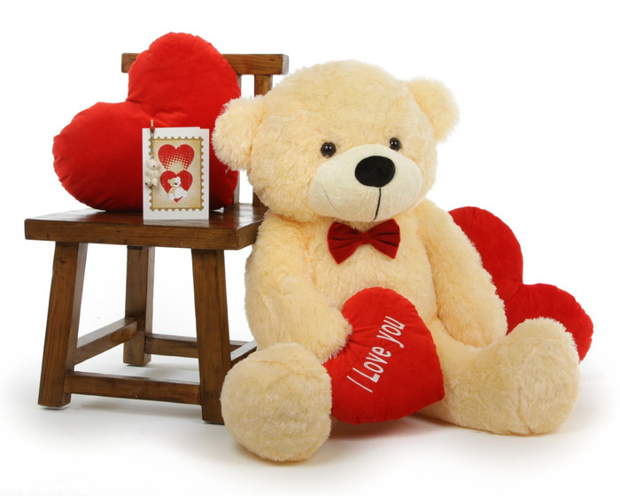 Cozy Love Cuddles with Red I LOVE YOU Heart Cream Teddy Bear 38in