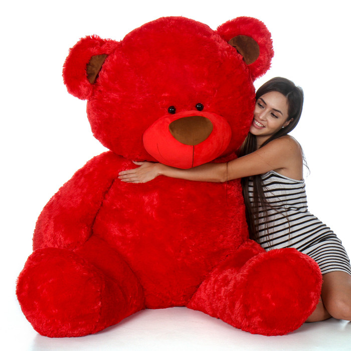 Giant Red Teddy Bear in Sitting Position